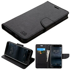For Nokia 6 / 3 / 5 Leather Flip Wallet Protective Case Cover Stand Pouch Black