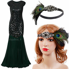 Prom Gown 1920s Flapper Dress Gatsby Long Bridesmaid Evening Party Dresses 2-20