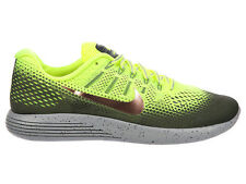 NEW MENS NIKE LUNARGLIDE 8 SHIELD RUNNING SHOES TRAINERS VOLT / METALLIC RED BRO