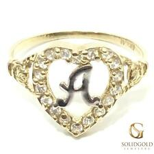 NEW 10K YELLOW GOLD INITIAL HEART RING LADIES 10KT RING I-MG