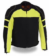 MEN'S MOTORCYCLE BLACK/ GREEN MESH RIDING JACKET W/ REMOVABLE RAIN JACKET LINER