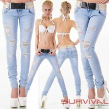 Womens Ripped Skinny Jeans Light Blue Washed FREE Belt Sexy Low Rise Designer