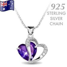 Amethyst Purple Heart Made With Swarovski Crystal Sterling Silver Chain Necklace