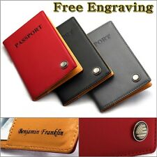 Free Engraving - Genuine Leather US PASSPORT Holder Travel ID Case Wallet Cover