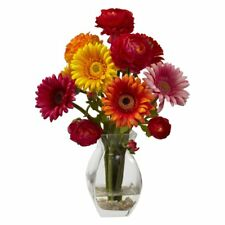 Nearly Natural Delight Gerber Daisy and Ranunculus Silk Flower