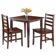 Winsome Trading Kingsgate 3 Piece Dining Table Set with Hamilton Ladder Back