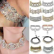 Women Charm Crystal Pendant Chain Choker Chunky Statement Bib Collar Necklace