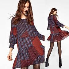 NWT ZARA FLOWING PATCHWORK DRESS PLAID FRILLED RUFFLE 8342/323 Sz XS M