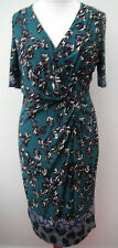 NEW M&S Per Una mock wrap leaf print jersey dress~Teal~6 8 10 12 14 16 18