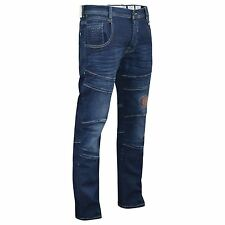 Mens Jeans Cargo Combat Pants Straight Leg Stretch Utility Denim Trousers