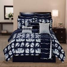 Navy Blue White Tie Dyed 12 Piece Contemporary Reversible Comforter Bedding Set