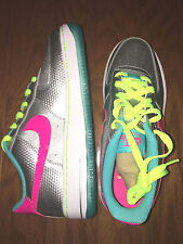 Girls Nike AIR FORCE 1 GS 314219-011 Metallic Silver Hyper Pink Shoes Sneakers