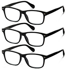 3 Pair Lot Spring Hinge Black Reading Glasses Clear Lens Strength Men Women Pack