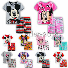 Kids Boys Girls Mickey Minnie Mouse Short Sleeve T-shirt Shorts Outfits Clothes