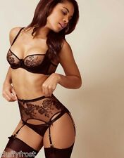 AGENT PROVOCATEUR BLACK GLORIA BRA & 2 SMALL BRIEF OR THONG & SUSPENDER SET BNWT