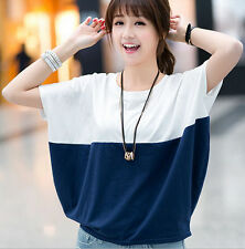 loose  Women's Bat sleeve T-shirt  Tops  Short  Korean wild