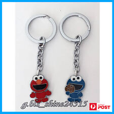 1 x Sesame Elmo Cookie Monster Glitter Key Ring Mens Women Kids Child Xmas Gift