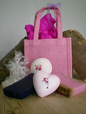 New Handmade Soap & Bath Bomb Body Gift Set + Natural Jute Bag