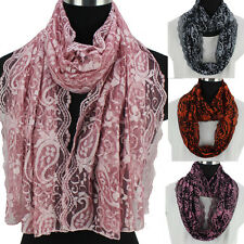 Women Fashion Paisley Floral Pattern Print Lace Long Shawl/Infinity Snood Scarf