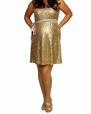 Gold sleeveless sequin sexy Mini Maternity dress S,M,L,XL  free shipping