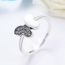 Authentic 925 Sterling Silver Butterfly Clear CZ Finger RING Mother's Day Gift