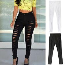 Ladies Slim High Waist Denim Pants Skinny Ripped Stretch Jeans Pencil Trousers