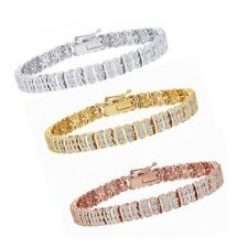 0.25 Ct Round Cut Simulated Diamond In 18K Gold Over S Pattern Tennis Bracelet