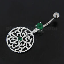 14G 10MM Fancy Center Jeweled Grass Leafs Cut out Sterling Silver Navel Bar