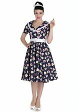 New 1950s Inspired Navy Floral Spotty Shirtwaister Swing Dress Rockabilly Pinup