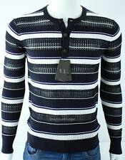 Armani Exchange A|X Mens Henley Knit Striped Sweater Long Sleeve Top NWT