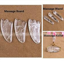 1pc Natural White Quartz Crystal Massage Roller Wand Board Powerful Healing A327