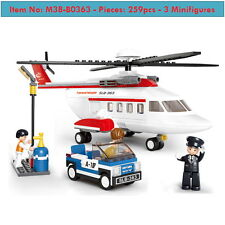 Hélicoptère -Private Helicopter-259p-3figures-Kid Toys-Lego Compatible-Aviation