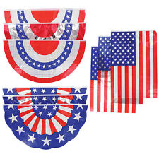 8 PIECE SUMMER PATRIOTIC MEMORIAL DAY 4TH OF JULY FLAG BANNERS & BUNTING.
