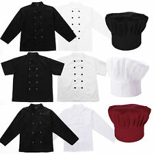 Black White Coat Chef Jacket Apparel Unisex Chefs Hat Costume Accessory