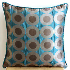 Teal Blue Polka Dots  50x50 cm Silk Cushion Covers - Teal Polka Dots