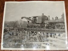 VINTAGE NORTHERN PACIFIC RAILROAD PHOTO, ANTIQUE RAILWAY PICTURE WRECKING TRAIN