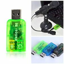 Portable 3D Sound Audio Adapter card 5.1 USB To 3.5mm mic headphone Jack Stereo