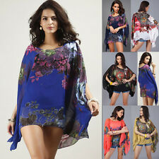 Womens Floral Chiffon V Neck Batwing Sleeve Loose Casual Beach Tops Shirt Blouse