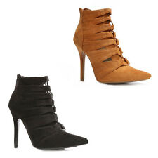 WOMENS LADIES SMART HIGH STILETTO HEEL POINTED TOE LACE UP ANKLE BOOTS SIZE 2-7