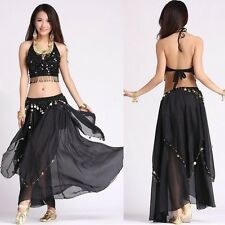 Spiral Skirt Belly Dance Layer Circle Costume Gypsy Gold Coins Skirts Club Wear