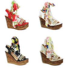 WOMENS LADIES PLATFORM WEDGE HEEL STRAPPY FLORAL TIE UP SANDALS SHOES SIZE 3-8