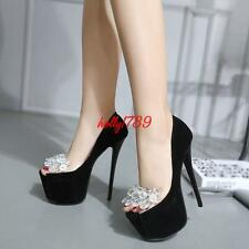 Peep Toe High Stiletto Heels Platform Pumps Womens Nightclub Party Stage Shoes