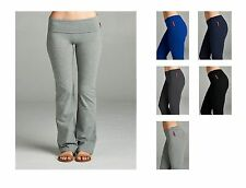Plus Size Cotton Stretch  Full Length Athletic Fitness Yoga Pants Foldover Waist
