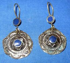 Earrings Circle Afghan Kuchi Tribal Alpaca Silver 1 1/2""