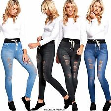 Womens Ladies Jegging Distressed Rip Knee Skinny Jeans Hole Denim Stretchy Pants