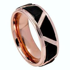 Mens Wedding Band, Mens Black & Rose Gold Tungsten Ring, His Promise Ring, Bands