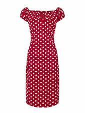 New Vintage Style Red Polka Dot Dolores Wiggle/Pencil Dress Rockabilly Pin Up