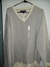 NWT Mens V Neck Cotton Sweater by Tommy Hilfiger! XXL Gray & White