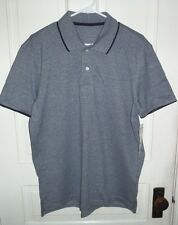 Nwt George Mens Solid Pique Polo Dark Navy Blue Short sleeve Dress Shirt
