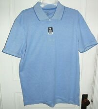 Nwt George Mens Solid Pique Polo Delta Blue Short sleeve Dress Shirt